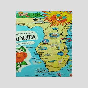 Vintage Florida Sun Map Throw Blanket