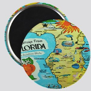 Vintage Florida Sun Map Magnet