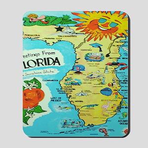 Vintage Florida Sun Map Mousepad