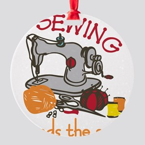 Sewing Mends The Soul Round Ornament