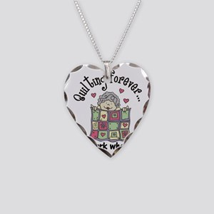 Quilting Forever Necklace Heart Charm