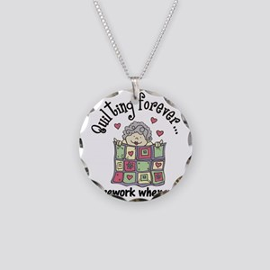 Quilting Forever Necklace Circle Charm