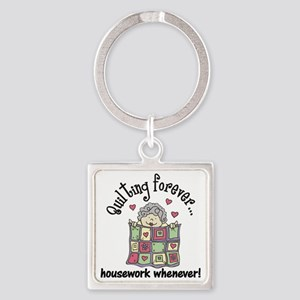 Quilting Forever Square Keychain