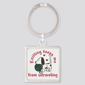 Knitting Square Keychain