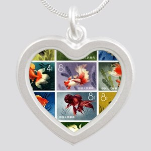 Vintage 1960 China Goldfish  Silver Heart Necklace