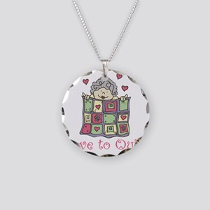 Love to Quilt Necklace Circle Charm
