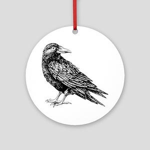 Raven Sketch Round Ornament