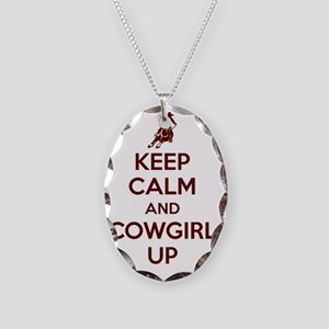Keep Calm and Cowgirl Up Necklace Oval Charm