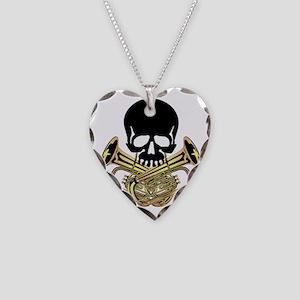 Skull with Tuba Crossbones Necklace Heart Charm