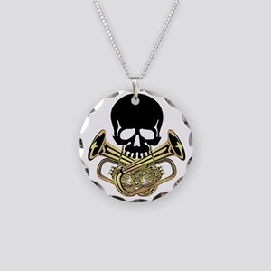 Skull with Tuba Crossbones Necklace Circle Charm
