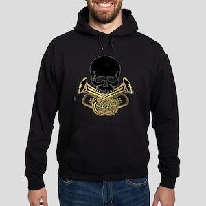 Skull with Tuba Crossbones Hoodie (dark)