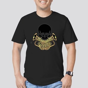 Skull with Tuba Crossb Men's Fitted T-Shirt (dark)