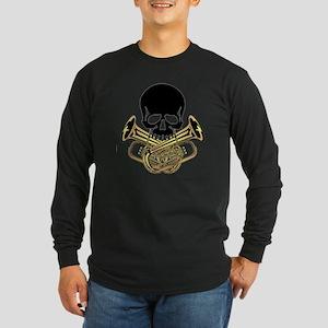 Skull with Tuba Crossbone Long Sleeve Dark T-Shirt