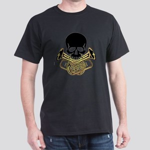Skull with Tuba Crossbones Dark T-Shirt