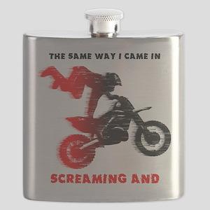 Screaming Blood Dirt Bike Motocross Funny Flask