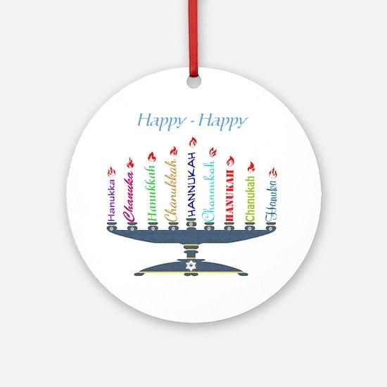 Spelling Chanukah 2 Round Ornament