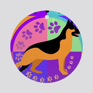 GSD Dog Breed Graphics Round Ornament