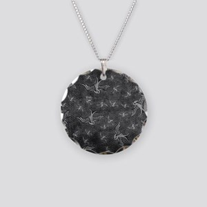 Charcoal Birdies Necklace Circle Charm