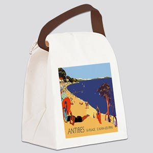 Vintage French Antibes Travel Pos Canvas Lunch Bag