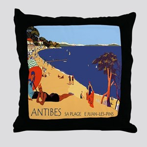 Vintage French Antibes Travel Poster Throw Pillow