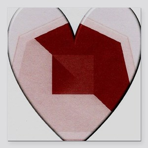 "Red  Heart Abstract Square Car Magnet 3"" x 3"""