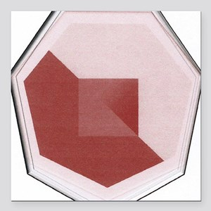 "Red and Pink Otagon Square Car Magnet 3"" x 3"""