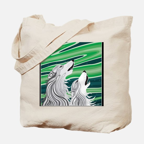 Howling Aurora Huskies Tote Bag