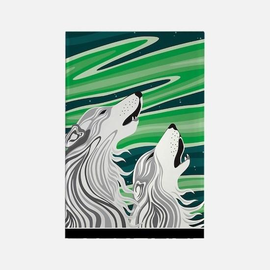 Howling Aurora Huskies Rectangle Magnet