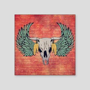"Winged Skull Square Sticker 3"" x 3"""