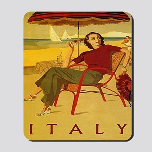 Vintage Woman Italy Beach Mousepad