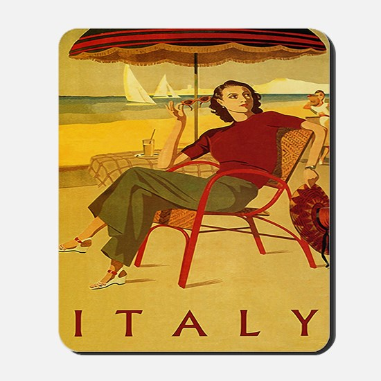 Vintage Woman Italy Beach Mousepad