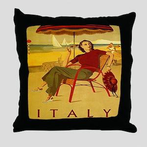 Vintage Woman Italy Beach Throw Pillow