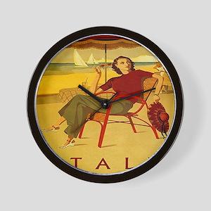 Vintage Woman Italy Beach Wall Clock