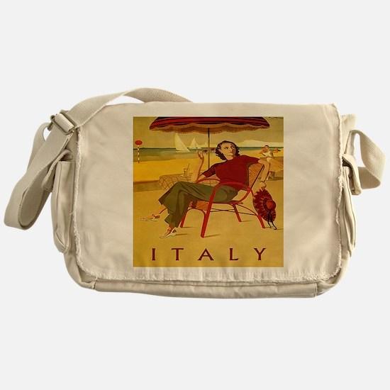 Vintage Woman Italy Beach Messenger Bag