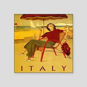"Vintage Woman Italy Beach Square Sticker 3"" x 3"""