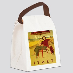 Vintage Woman Italy Beach Canvas Lunch Bag