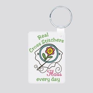 Real Cross Stitchers Aluminum Photo Keychain