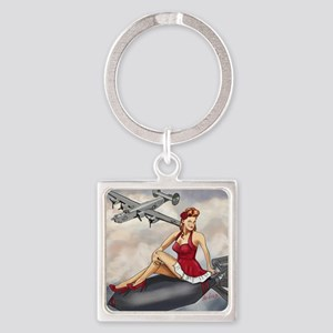 Bomber Girl WWII Pin-Up Square Keychain