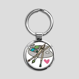 Painter's Palette Round Keychain