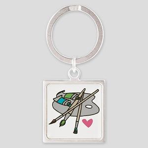 Painter's Palette Square Keychain