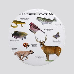 New Hampshire State Animals Round Ornament