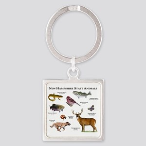 New Hampshire State Animals Square Keychain