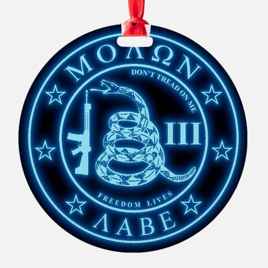 Square - Molon Labe - Blue Glow Ornament
