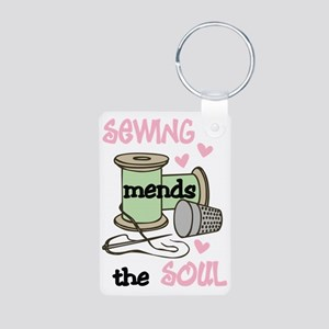 Sewing Mends The Soul Aluminum Photo Keychain