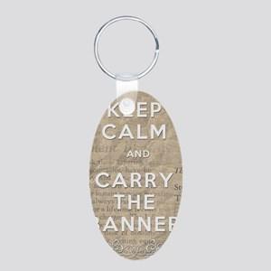Keep Calm and Carry the Ban Aluminum Oval Keychain