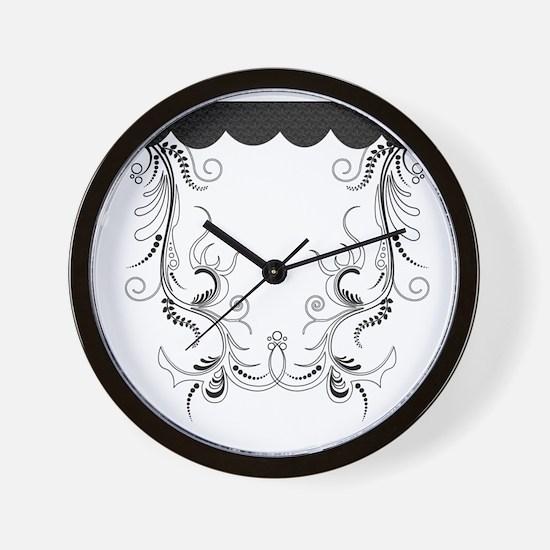 swiryl floral black Wall Clock