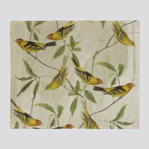 Vintage Yellow Birds Throw Blanket