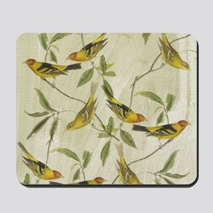 Vintage Yellow Birds Mousepad