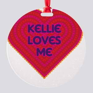 Kellie Loves Me Round Ornament