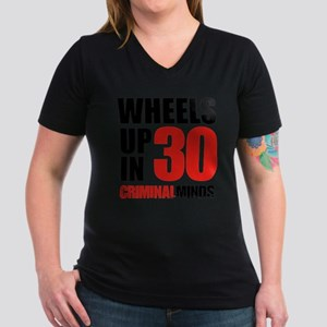 Wheels Up In 30 Women's V-Neck Dark T-Shirt